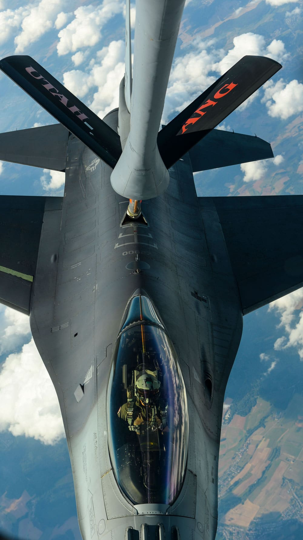An F-16 Fighting Falcon, assigned to the 52nd Fighter Wing at Spangdahlem Air Base, Germany, receives fuel from a KC-135 Stratotanker over Ramstein AB, Germany. Utah Air National Guard's 191st Air Refueling Squadron conducted aerial refueling during a routine training sortie.