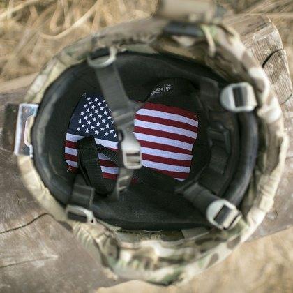 American flag lines the inside of a U.S. Soldier's Helmet