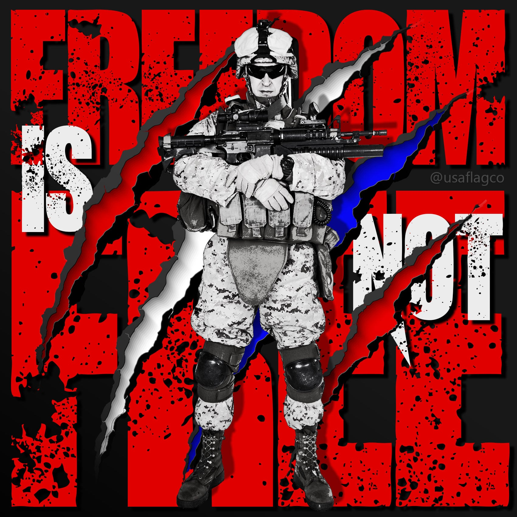 "Freedom Is Not Free: USMC by USA Flag Co. ""It doesn't take a hero to order men into battle. It takes a hero to be one of those men who goes into battle."" – General Norman Schwarzkopf Jr."