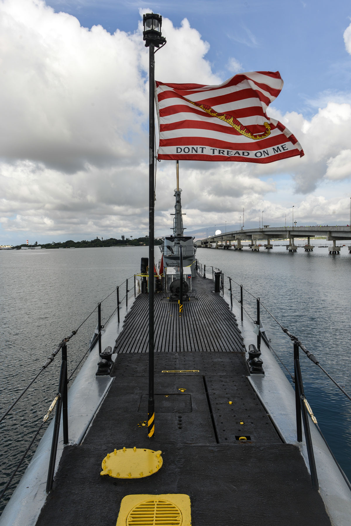 U.S. Navy Don't Tread On Me Flag: The Rattlesnake Jack flown at USS Bowfin at Pearl Harbor, Oahu, Hawaii
