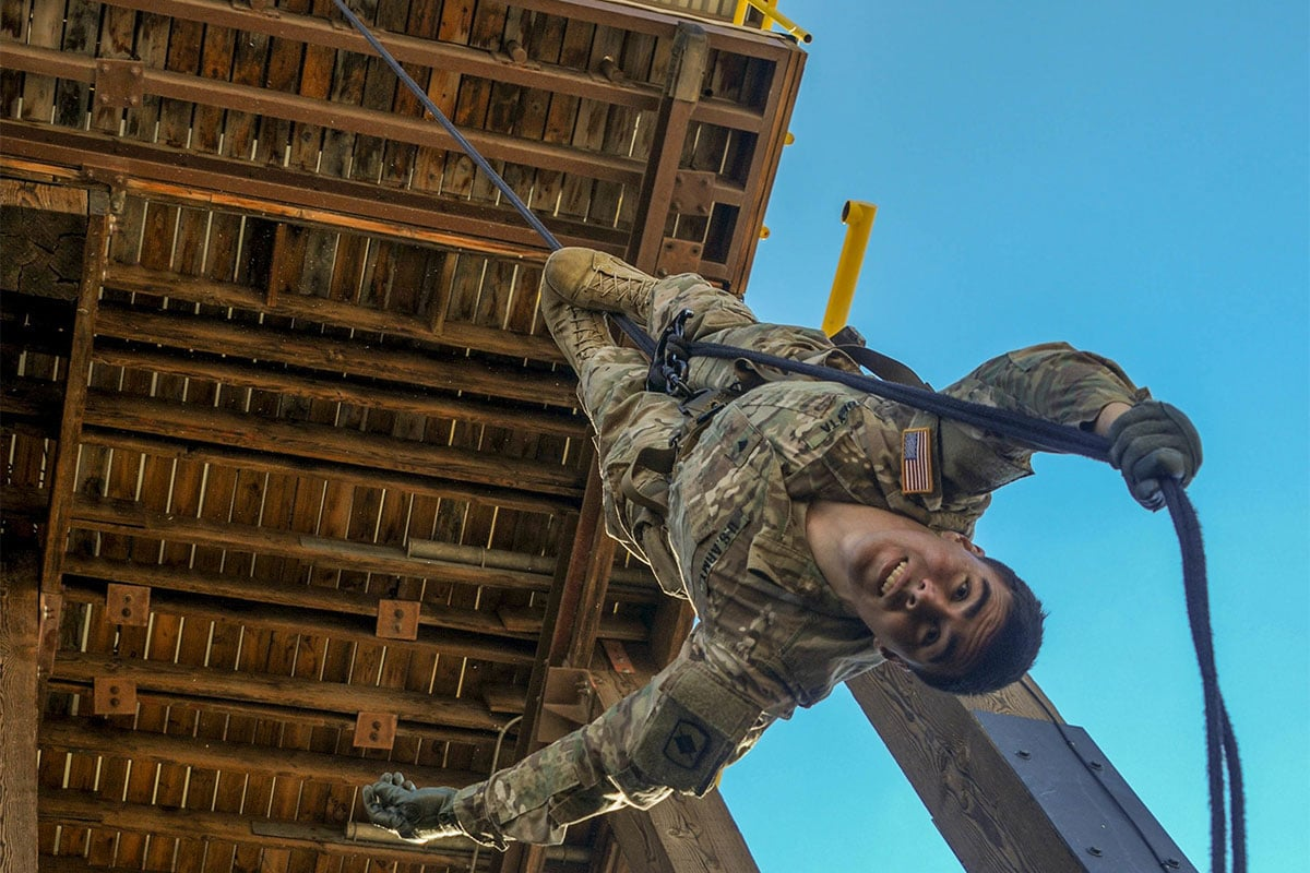 U.S. Army Soldiers conducted rappel operations at Fort Bliss, Texas. Several individuals within Headquarters and Headquarters Company, 1-153 Infantry Regiment Reconnaissance, have the certifications to be rappel masters. These certifications must be renewed every six months.