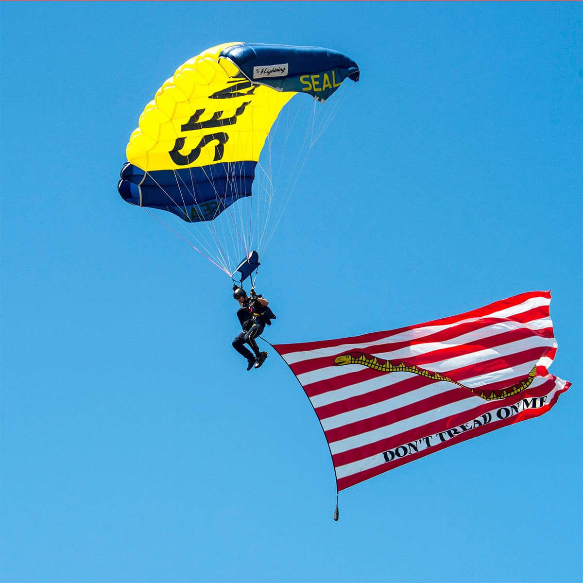 LONG BEACH, Miss. (April 3, 2017) A Sailor assigned to the U.S. Navy parachute demonstration team, the Leap Frogs, proudly flies the Don't Tread On Me flag during a skydiving demonstration at Long Beach High School in support of Navy Week Gulfport/Biloxi. Navy Week programs serve as the Navy's principal outreach effort in areas of the country without a significant Navy presence.