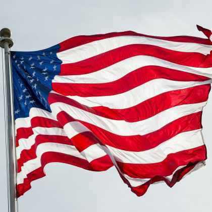The American Flag Waves