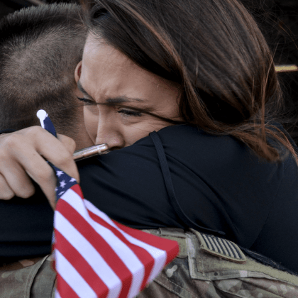 An Airman assigned to the 20th Fighter Wing hugs a family member after returning to Shaw Air Force Base, S.C., from Afghanistan, May 5, 2017. Airmen returned after a six-month deployment to the United States Central Command area of responsibility.