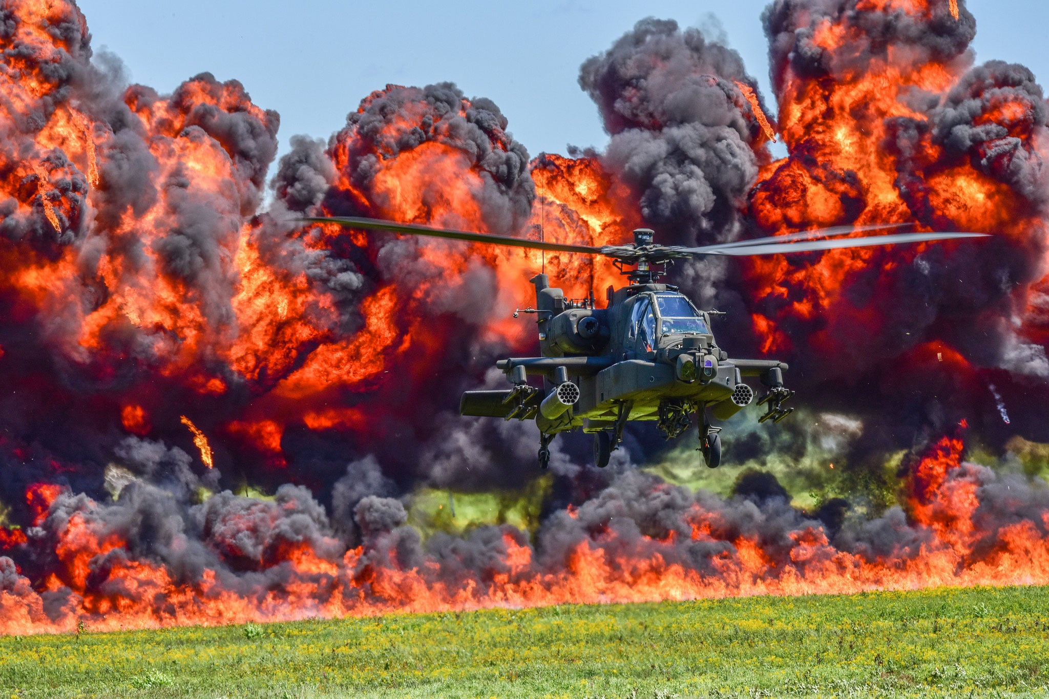 U.S. Army and Air National Guard personnel participate in the combined arms demo during the South Carolina National Guard Air and Ground Expo at McEntire Joint National Guard Base, South Carolina, May 6, 2017. This expo is a combined arms demonstration showcasing the capabilities of South Carolina National Guard Airmen and Soldiers while saying thank you for the support of fellow South Carolinians and the surrounding community.