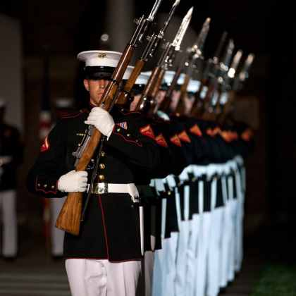 U.S. Marines with the Silent Drill Platoon