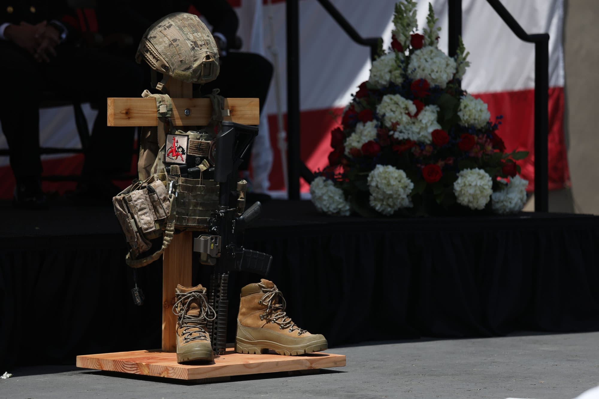 CORONADO, Calif. (June 2, 2017) A battlefield cross is displayed in honor of Special Operator 1st Class (SEAL) Remington Peters during a memorial ceremony at Naval Amphibious Base, Coronado. Peters, from Colorado, died from injuries sustained during an airborne demonstration at New York Fleet Week on May 28, 2017.