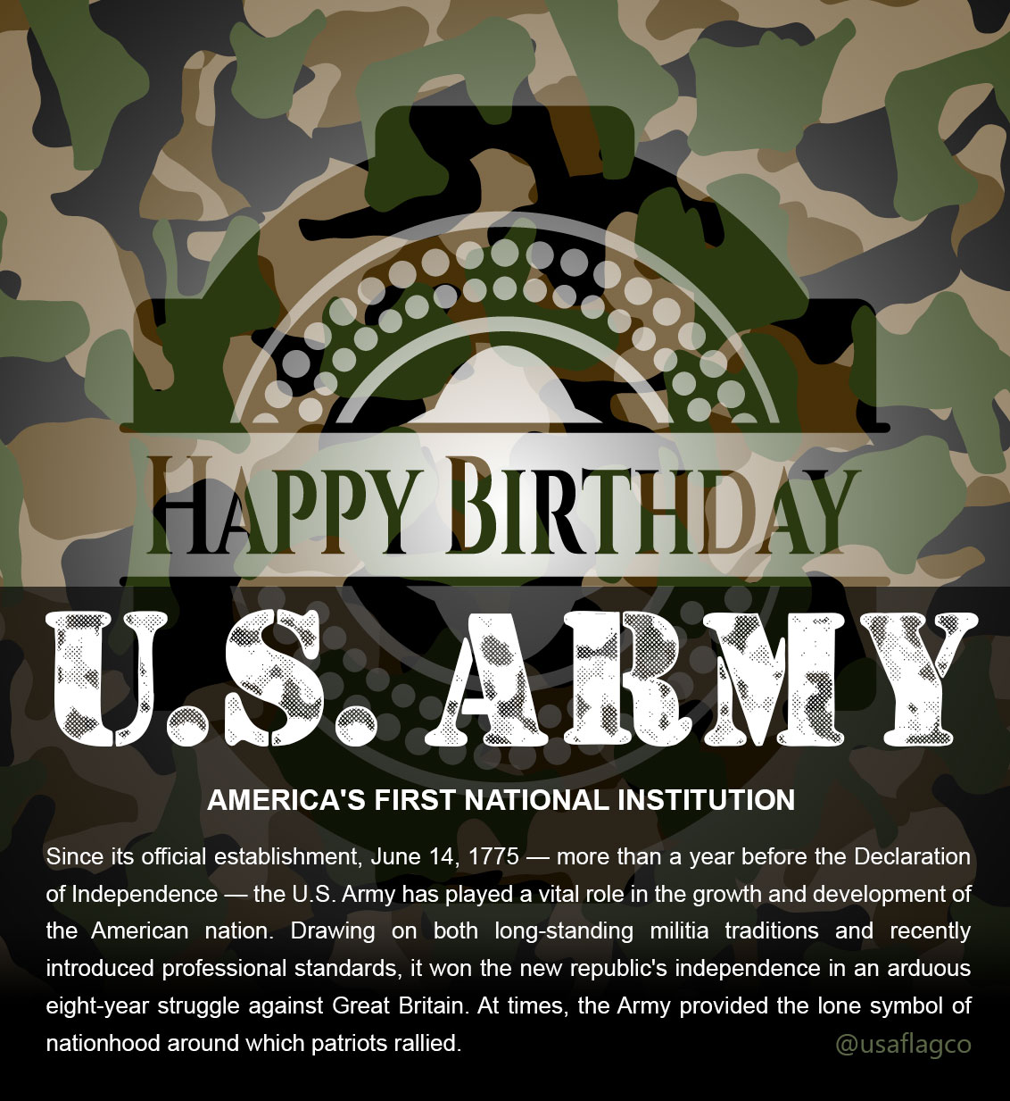 Happy Birthday United States ARMY - Since its official establishment, June 14, 1775 — more than a year before the Declaration of Independence — the U.S. Army has played a vital role in the growth and development of the American nation. Drawing on both long-standing militia traditions and recently introduced professional standards, it won the new republic's independence in an arduous eight-year struggle against Great Britain.