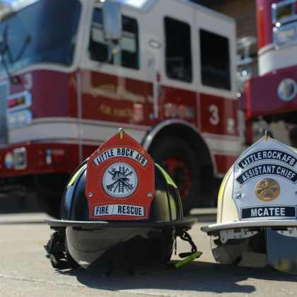 Firefighters at he 19th Civil Engineer Squadron Fire Department provides fire prevention, firefighting, rescue, and emergency response services to Little Rock Air Force Base, Ark. The firefighters work 24-hour shifts, don 50- to 70-pounds of equipment in seconds, and respond to life threatening situations without hesitation at a moment's notice.