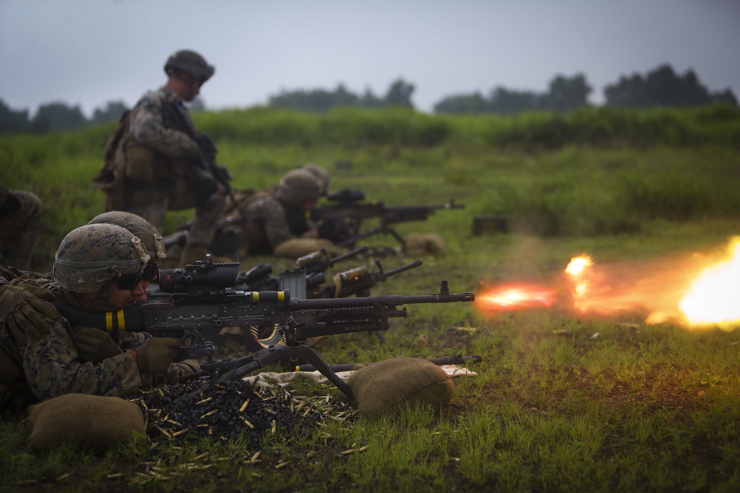 Lance Cpl. Paul D. Dubanski, a Loomis, California native and infantry assault-man assigned to Bravo Company, 1st Battalion, 3rd Marine Regiment, fires the M240B medium machine gun down range during Exercise Fuji Viper aboard Camp Fuji, Japan.