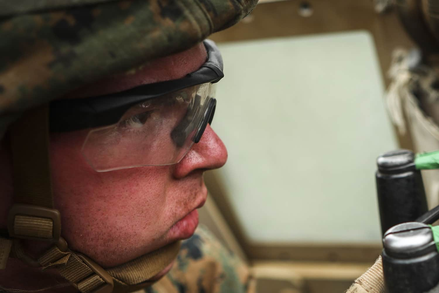 A U.S. Marine with Combined Anti-Armor Team 2, Weapons Company, 1st Battalion, 3rd Marine Regiment, fires a mounted M2 .50 caliber machine gun down range during Exercise Fuji Viper aboard Camp Fuji, Japan.