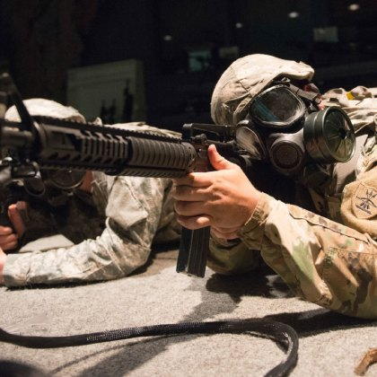 U.S. Army Soldiers of the Grand Forks-based 1st Battalion, 188th Air Defense Artillery Regiment complete weapons qualification on a simulated weapons range, Engagement Skill Trainer at Camp Grafton, N.D.