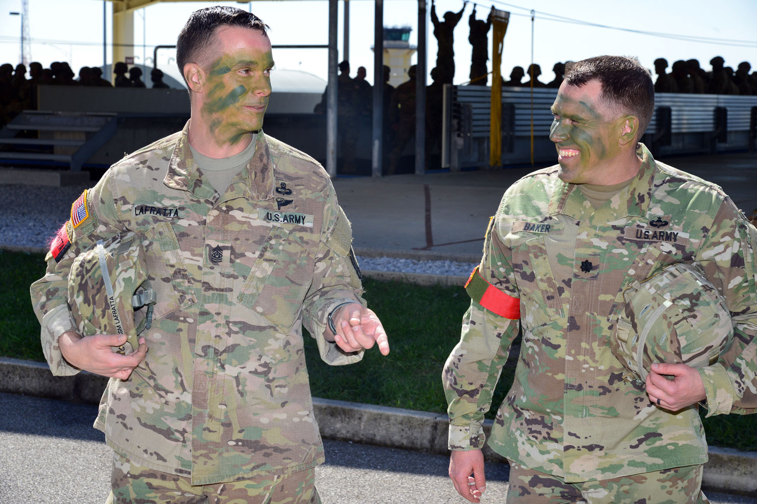 U.S. Army Lt. Col. Christopher W. Baker (right), commander of 173rd Brigade Support Battalion, 173rd Airborne Brigade and U.S. Army Command Sgt. Maj. James A. Lafratta (left), during an airborne operation at Aviano Air Base, in Pordenone, Italy.