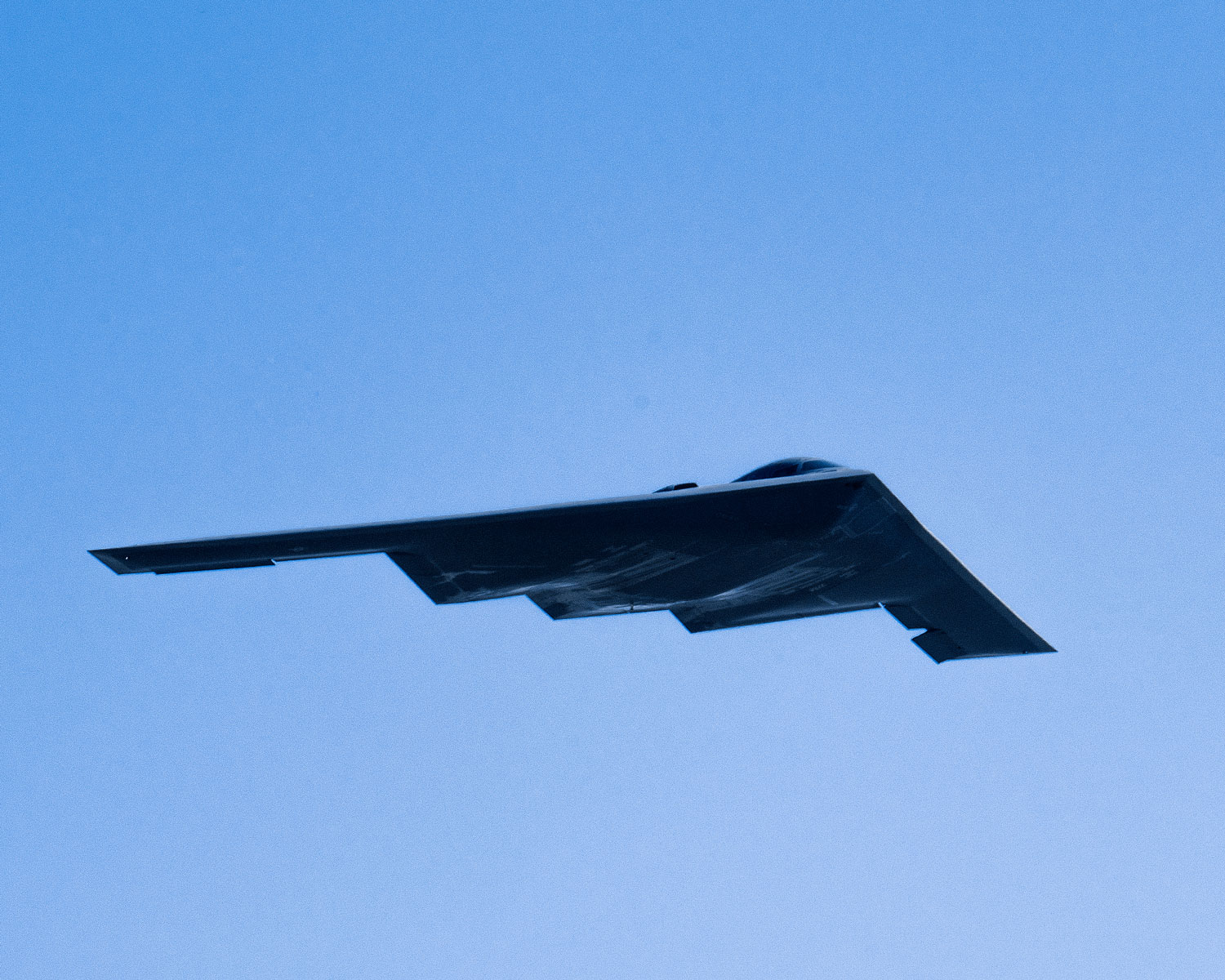 A B-2 Spirit Stealth Bomber flies over Joint Base Andrews, Md., during the 2017 Andrews Air Show: Air and Space Expo.