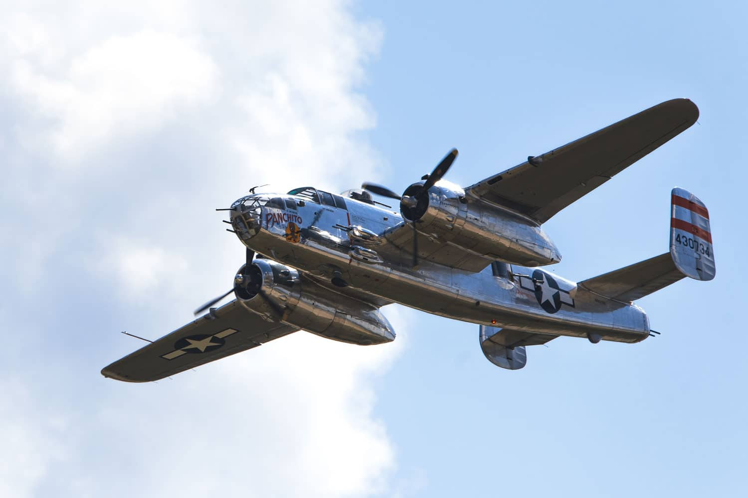 A B-25 Panchito airplane flies over Joint Base Andrews, Md., during the 2017 Andrews Air Show: Air and Space Expo.