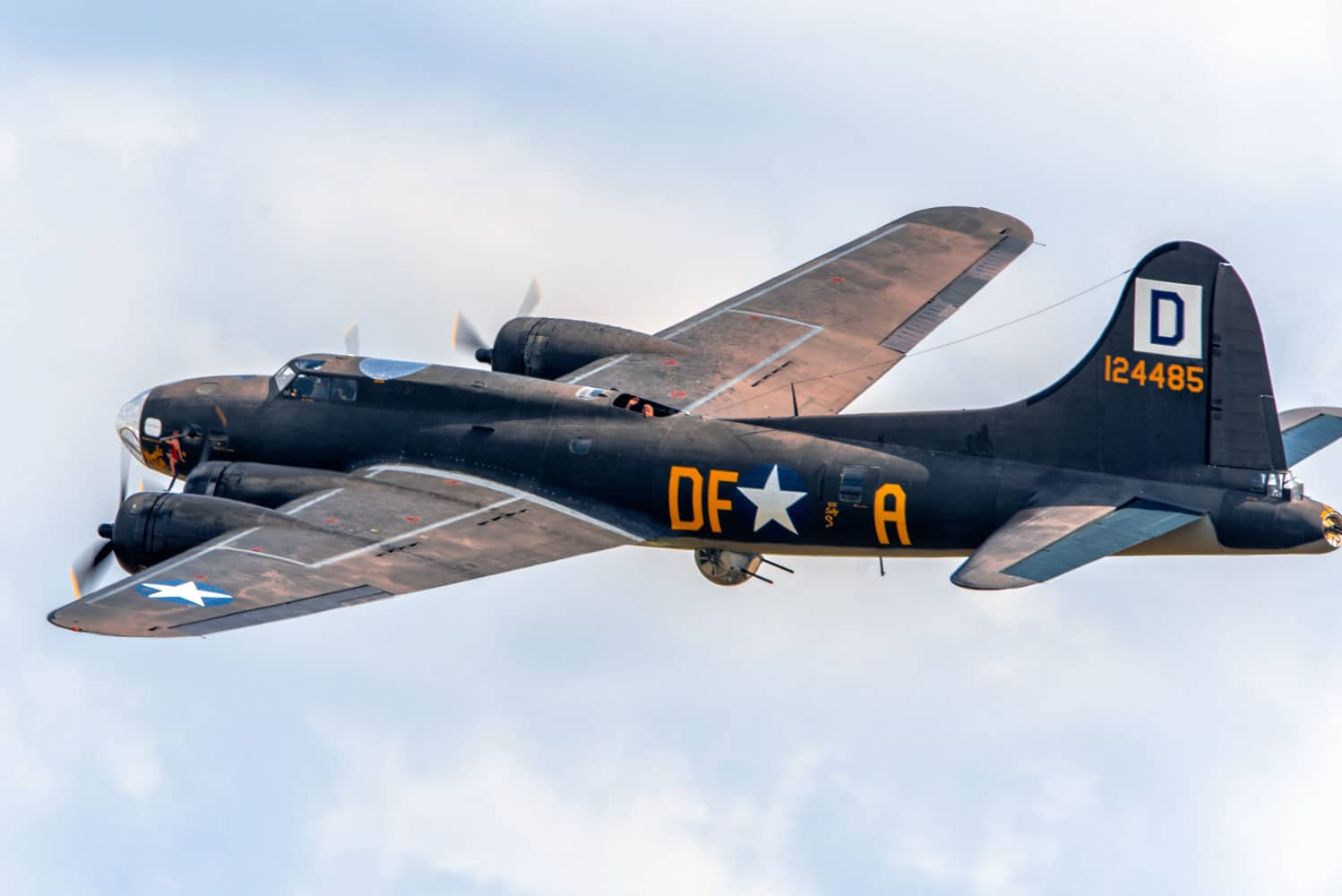 A Boeing B-17 Flying Fortress flies over Joint Base Andrews, Md., during the 2017 Andrews Air Show: Air and Space Expo.
