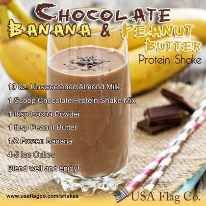 Chocolate Banana Peanut Butter Protein Shake Recipe