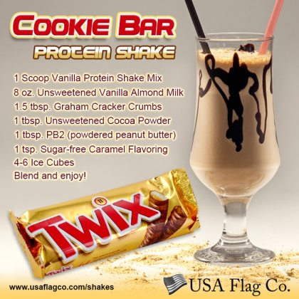 Our Cookie Bar Protein Shake recipe is the classic smooth chocolate, crispy delectable cookie taste… just like the TWIX® Cookie Bars.
