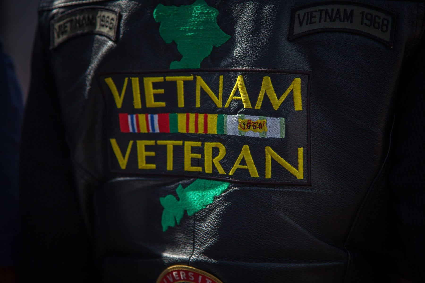 Detroit Vietnam veterans dress in their favorite veterans gear at a Vietnam veterans pinning ceremony as part of Marine Week Detroit.