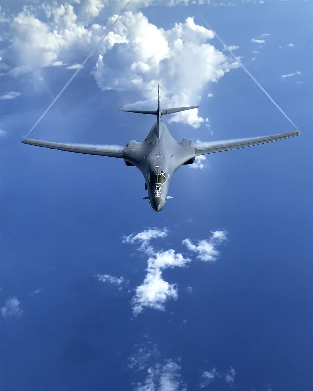 A U.S. Air Force B-1B Lancer, assigned to the 37th Expeditionary Bomb Squadron, deployed from Ellsworth Air Force Base (AFB), S.D., flies over the South Pacific.