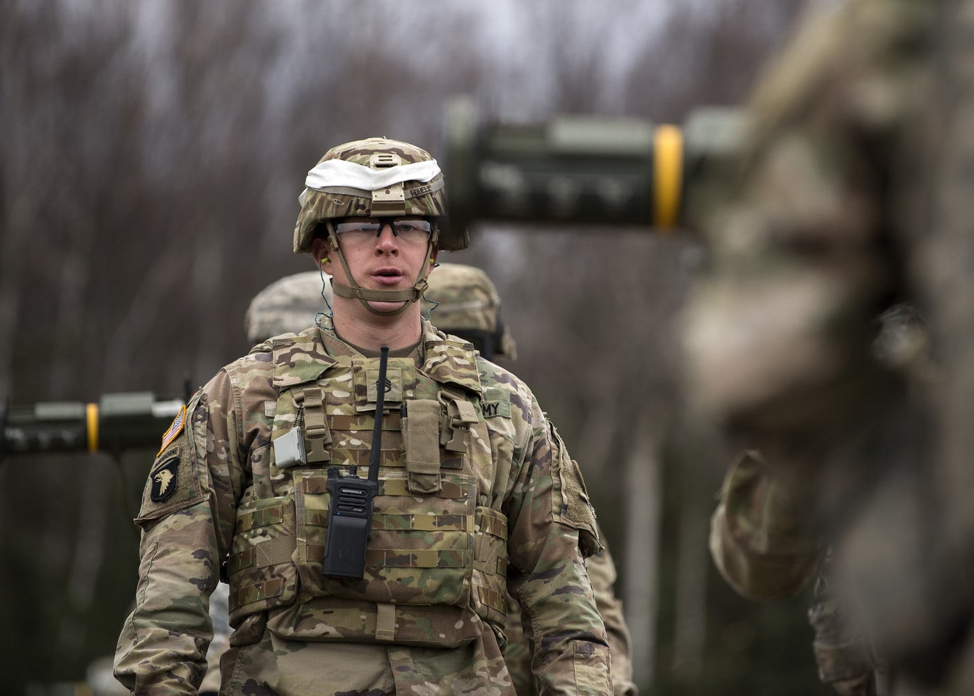 Army Staff Sgt. Matthew Duell, assigned to the 109th Transportation Company, 17th Combat Sustainment Support Battalion, U.S. Army Alaska, provides safety support during a live fire of the M136E1 AT4-CS confined space light anti-armor weapon at Joint Base Elmendorf-Richardson, Alaska.