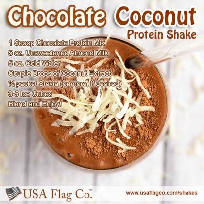 Almond milk and coconut extract add rich flavor to this Chocolate Coconut Protein Shake. This protein shake is perfect as an indulgent treat for your last meal of the day.