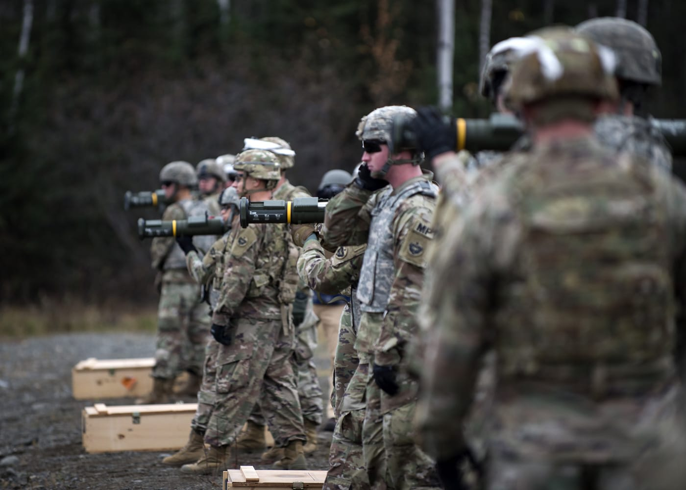 Soldiers assigned to the 109th Transportation Company, 17th Combat Sustainment Support Battalion, U.S. Army Alaska, fire the M136E1 AT4-CS confined space light anti-armor weapon at Joint Base Elmendorf-Richardson, Alaska.