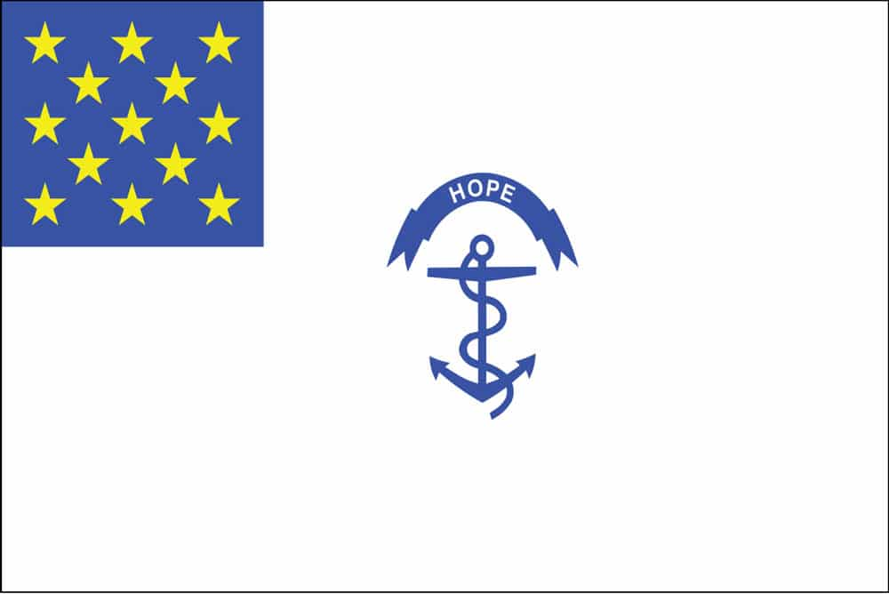 Rhode Island Regiment Flag: The starry canton in the Rhode Island Regiment flag symbolized national unity, but the white field corresponded to the uniform of the State troops.