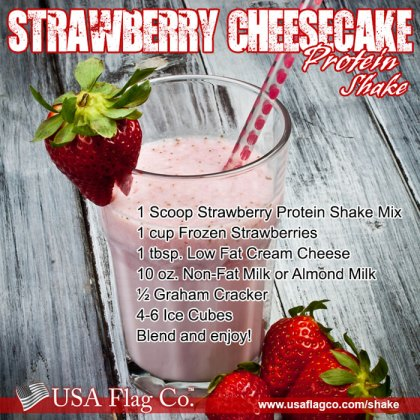 Strawberry protein shake mix, frozen strawberries, low fat cream cheese and sprinkle graham crackers make this Strawberry Cheesecake Protein Shake Recipe insanely delicious!