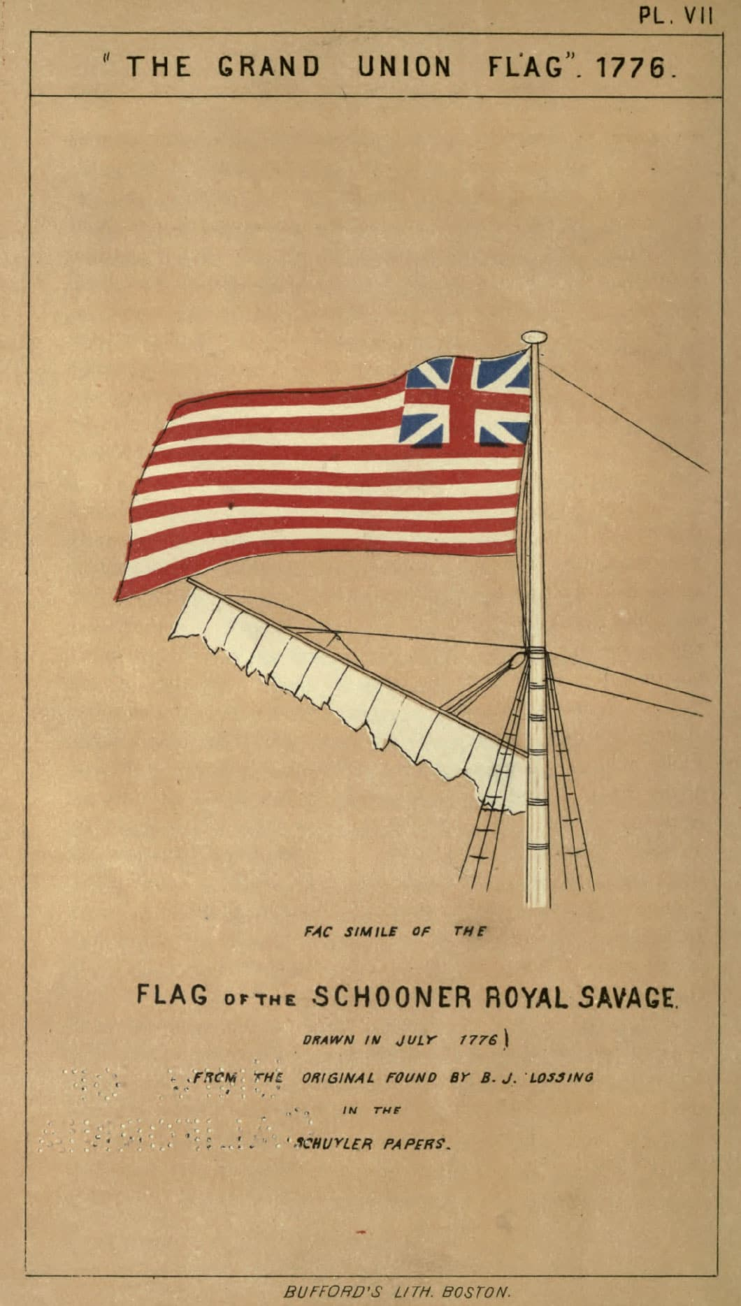 The Grand Union Flag - 1776. Fac Simile of the Flag of the Schooner Royal Savage. Drawn in July 1776. From the Original Found By B.J. Lossing in the Schuyler Papers.