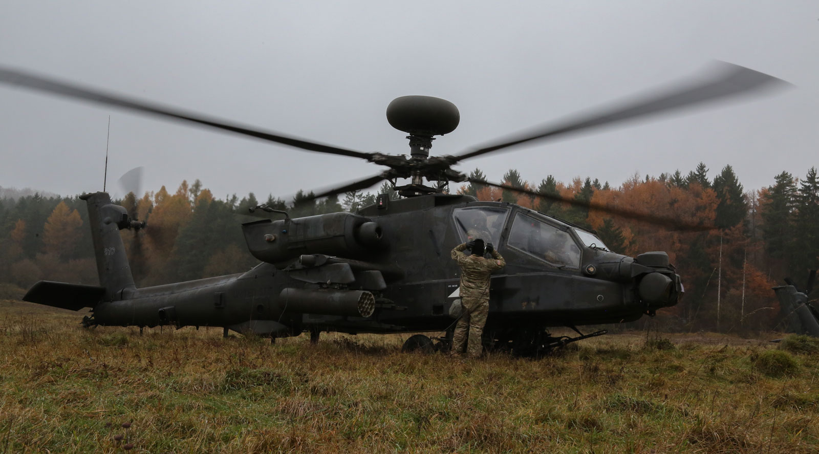 U.S. Soldiers of the 1st Battalion, 3rd Aviation Regiment prepare for flight in a AH-64D Apache Longbow Helicopter during exercise Allied Spirit VII at the U.S. Army's Joint Multinational Readiness Center in Hohenfels, Germany.
