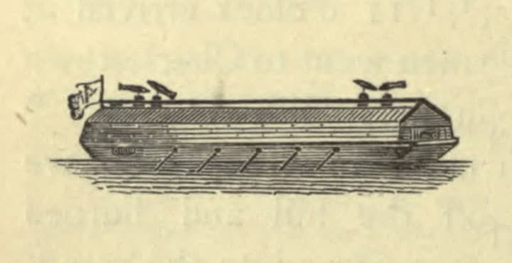 American Floating Battery, used at the siege of Boston, from an English manuscript.