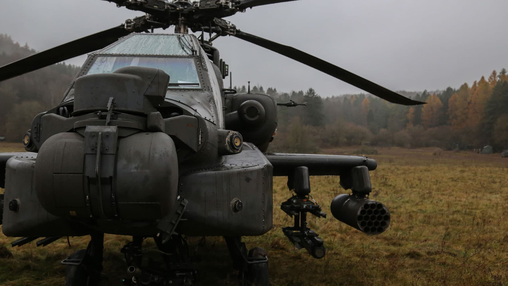 An AH-64D Apache Longbow helicopter is staged during exercise Allied Spirit VII at the U.S. Army's Joint Multinational Readiness Center in Hohenfels, Germany.
