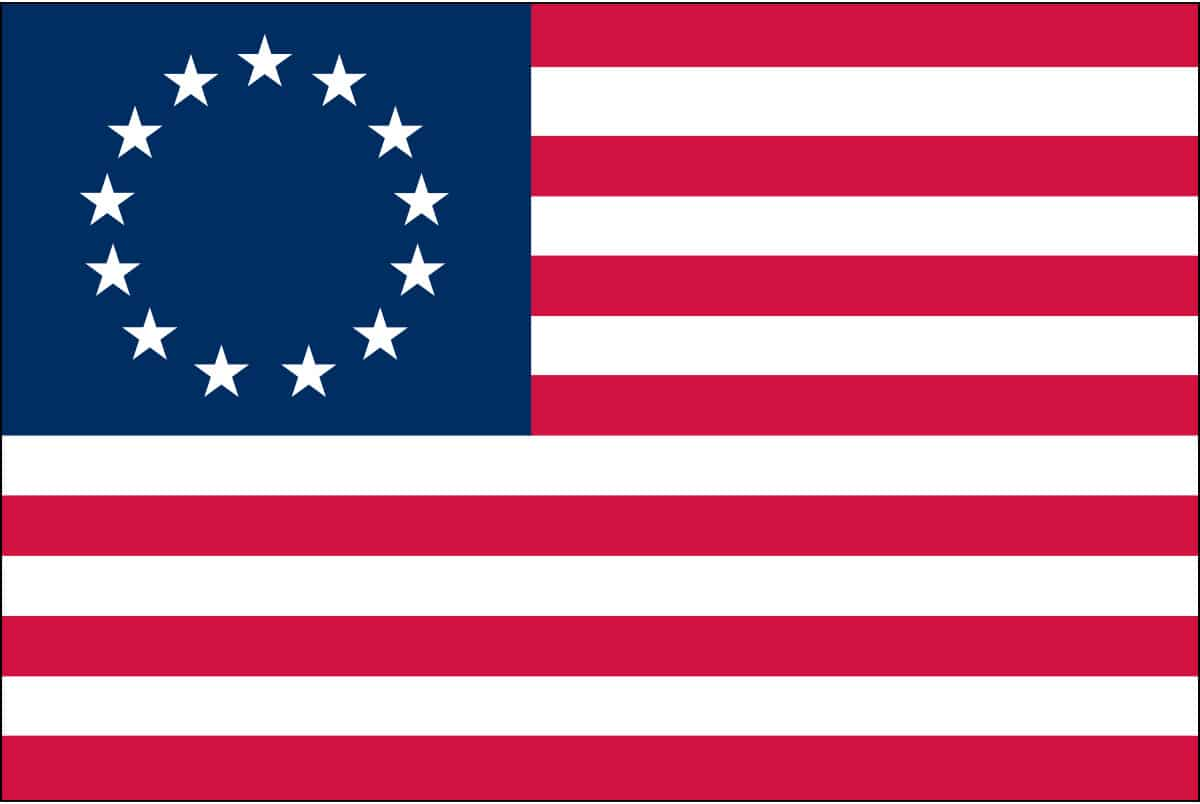 The Betsy Ross flag, also known as the First Stars and Stripes: In 1870 Betsy Ross' grandson presented a paper to the Philadelphia Historical Society, which was the first public presentation of the story of Betsy Ross and the first official flag.