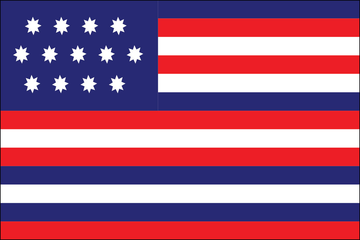 The Serapis flag was designed with 13 stripes alternating red, white and blue. This flag was raised by Captain John Paul Jones on the British frigate Serapis during the most famous Revolutionary naval battle.