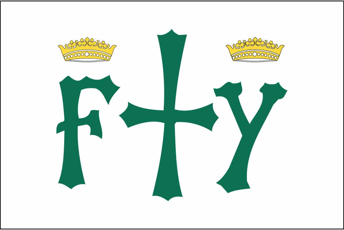 The Columbus flag consisted of a white flag background with a green cross, having on each side the letters F and Y surmounted by golden crowns.