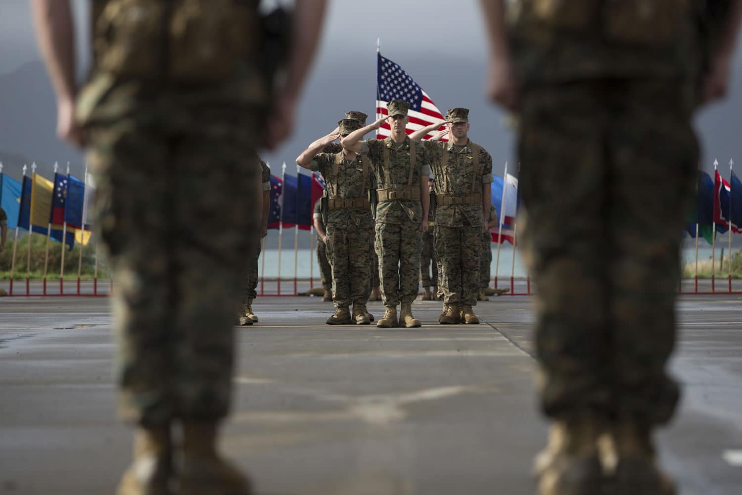 Marine Heavy Helicopter Squadron 463 Change of Command salute aboard Marine Corps Base Hawaii.