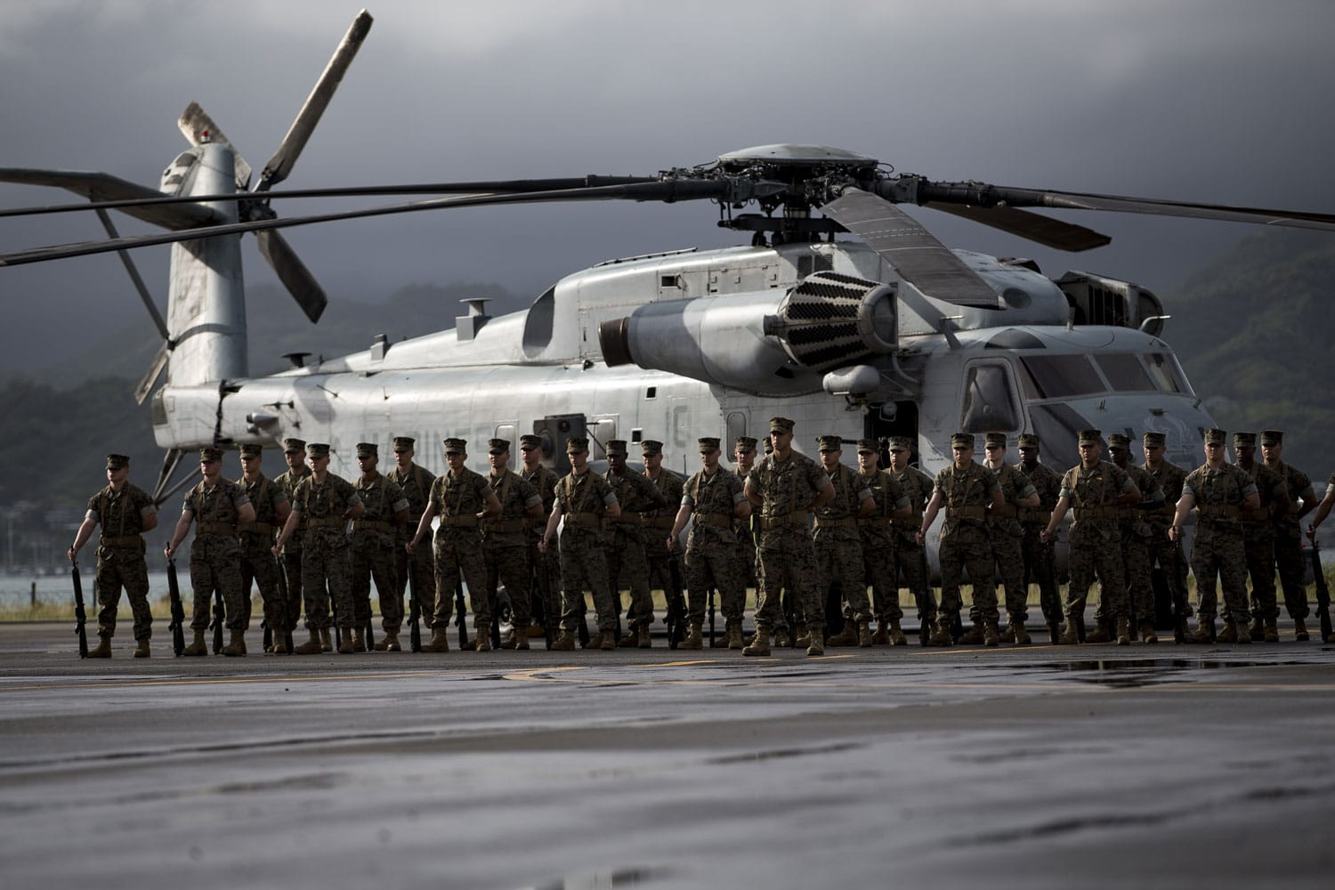 U.S. Marines with Marine Corps Heavy Helicopter Squadron 463 stand in formation, at parade rest, during the Marine Heavy Helicopter Squadron 463 Change of Command aboard Marine Corps Base Hawaii.