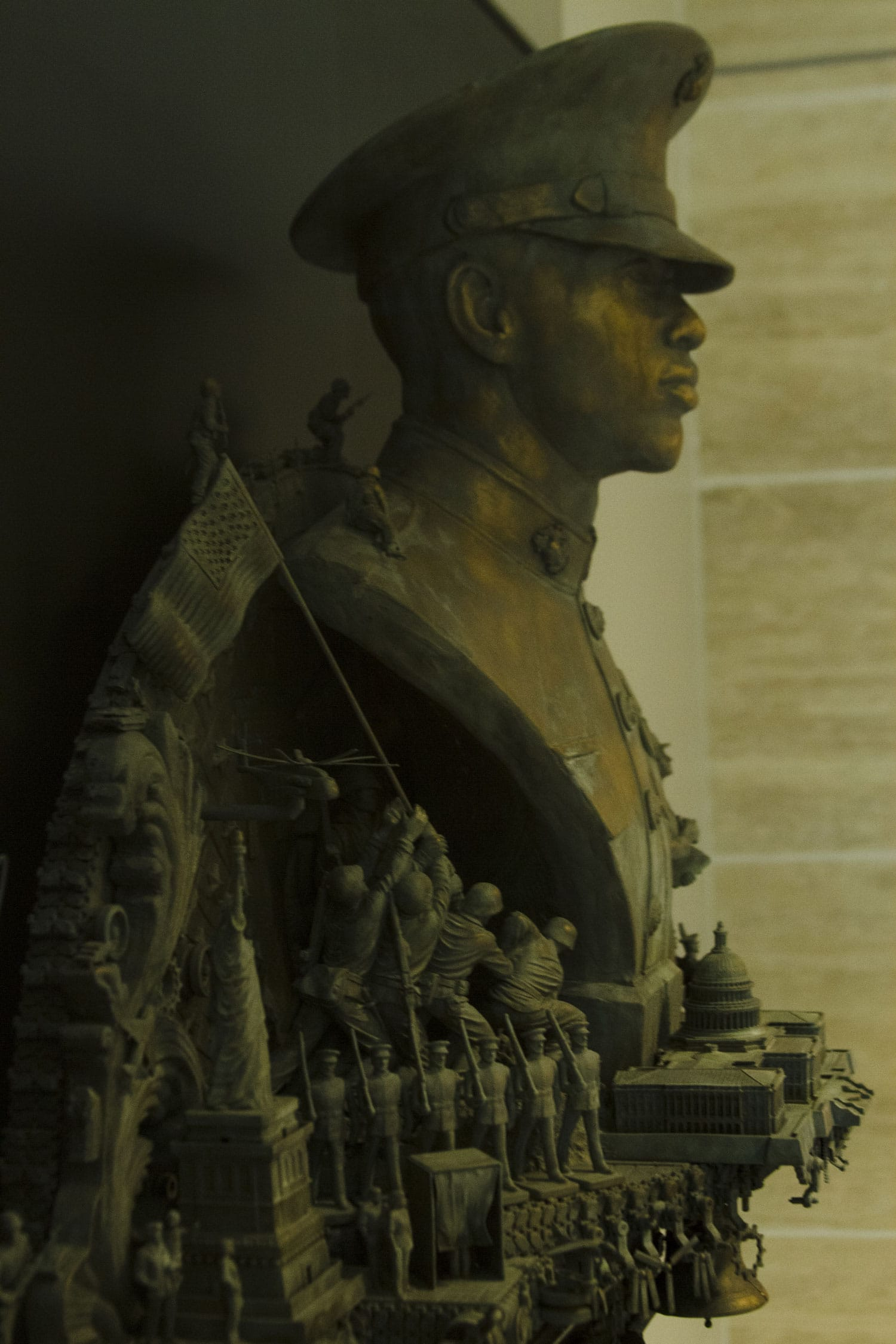 Marine Corps Nation's Call, one of three of Marine Corps Recruiting Command's statues, is unveiled at the National Marine Corps Museum in Triangle, Virginia