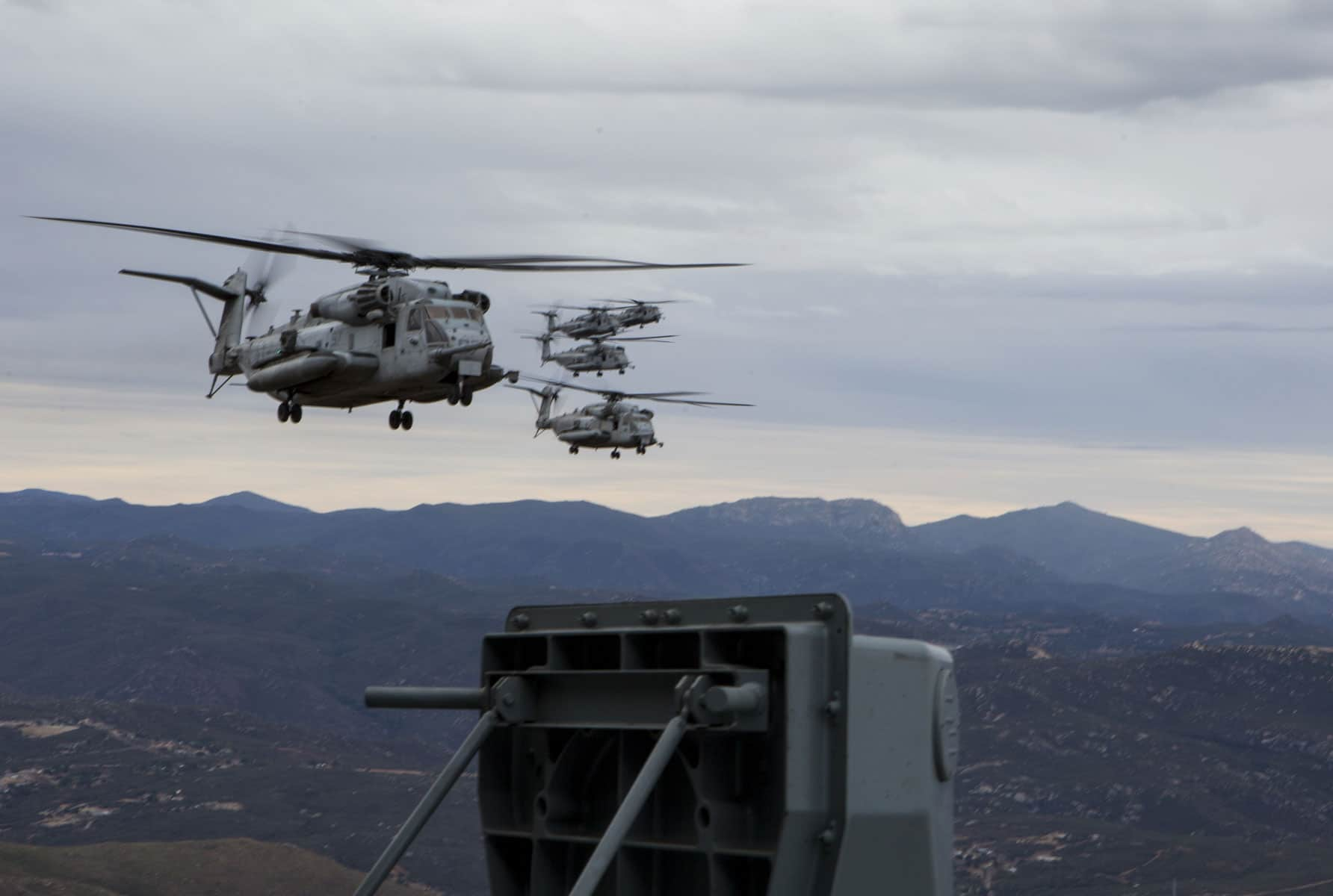 CH-53E Super Stallions with Marine Heavy Helicopter Squadron (HMH) 361 fly over San Diego, after launching from Marine Corps Air Station Miramar, California.