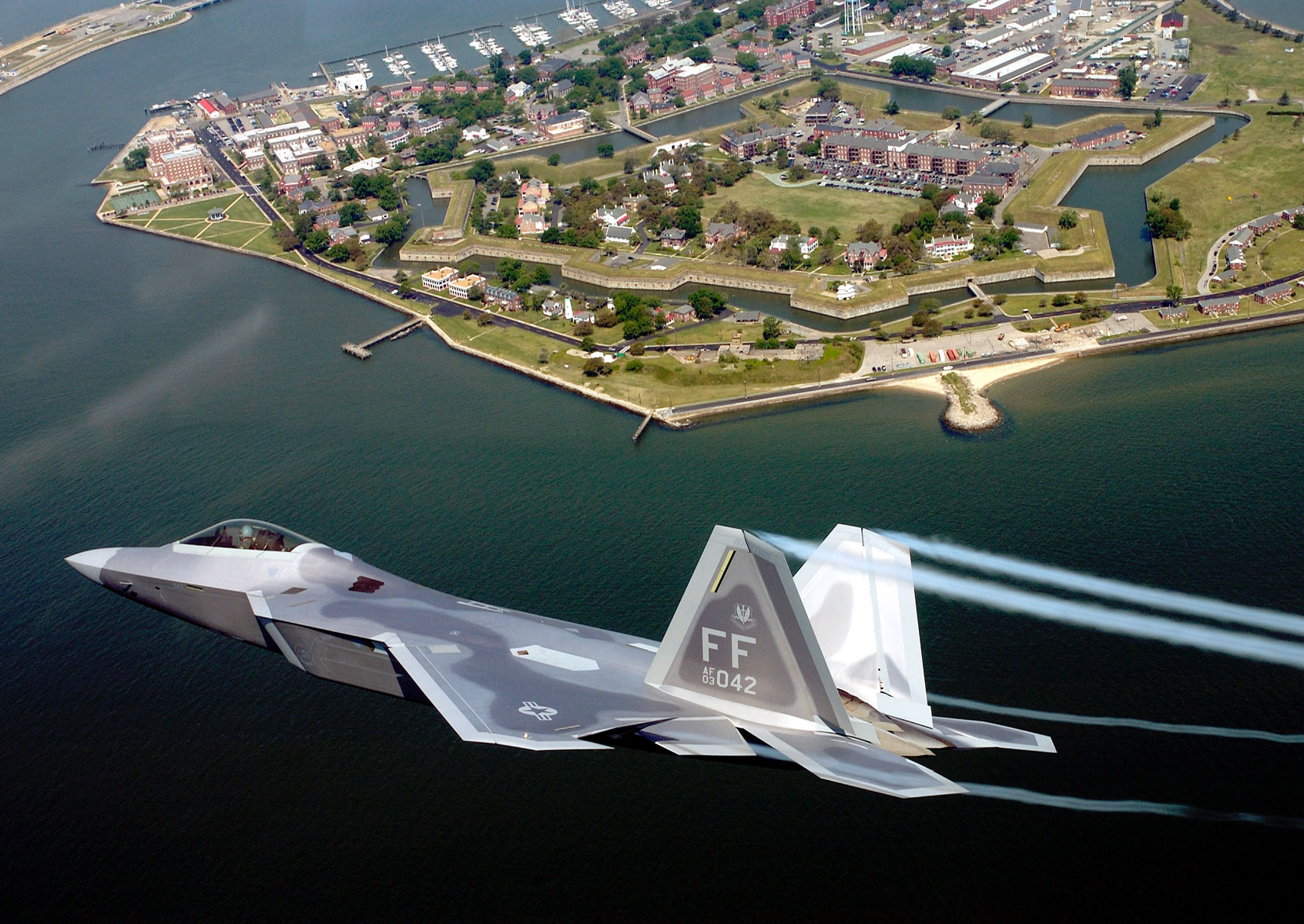Lt. Col. James Hecker flies over Fort Monroe before delivering the first operational F-22A Raptor to its permanent home at Langley Air Force Base, Va.