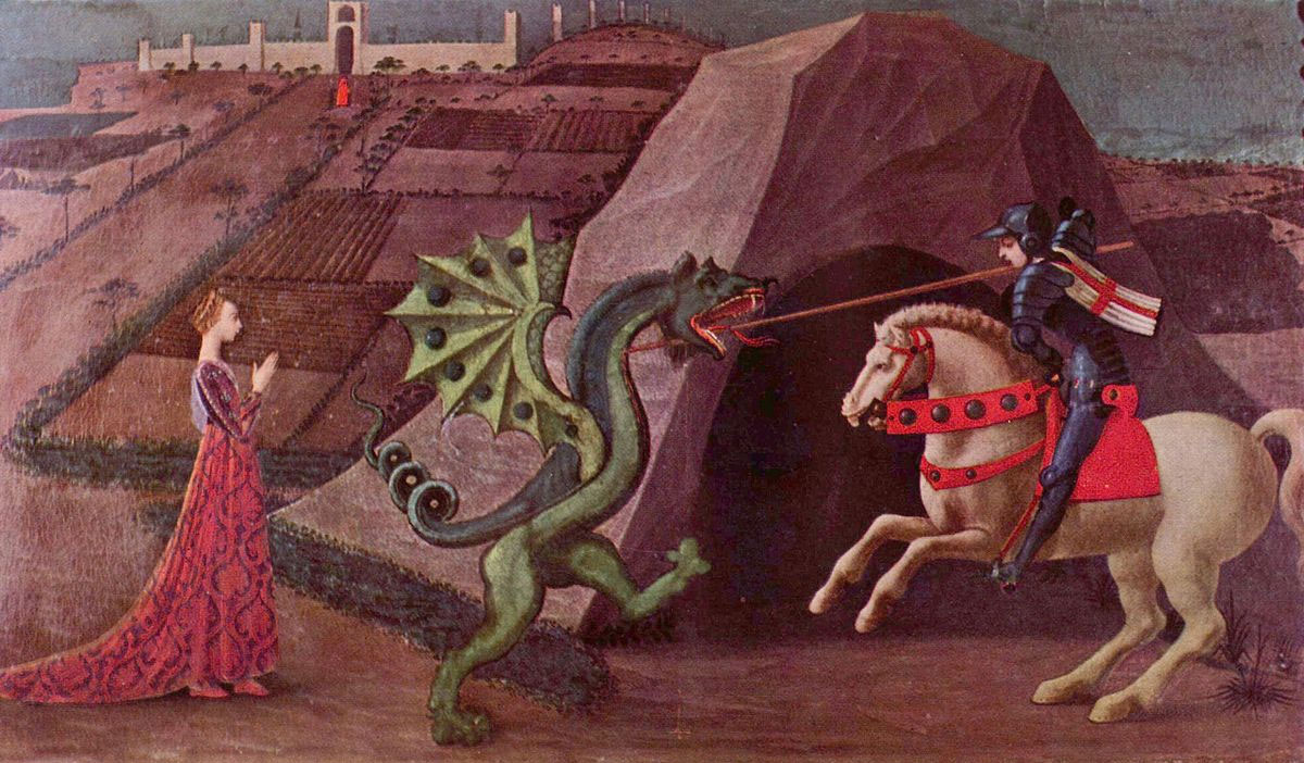 Saint George seen in the act of slaying the dragon. He is depicted wearing a jupon displaying the Cross of St George Flag. Paolo Uccello (c. 1460)