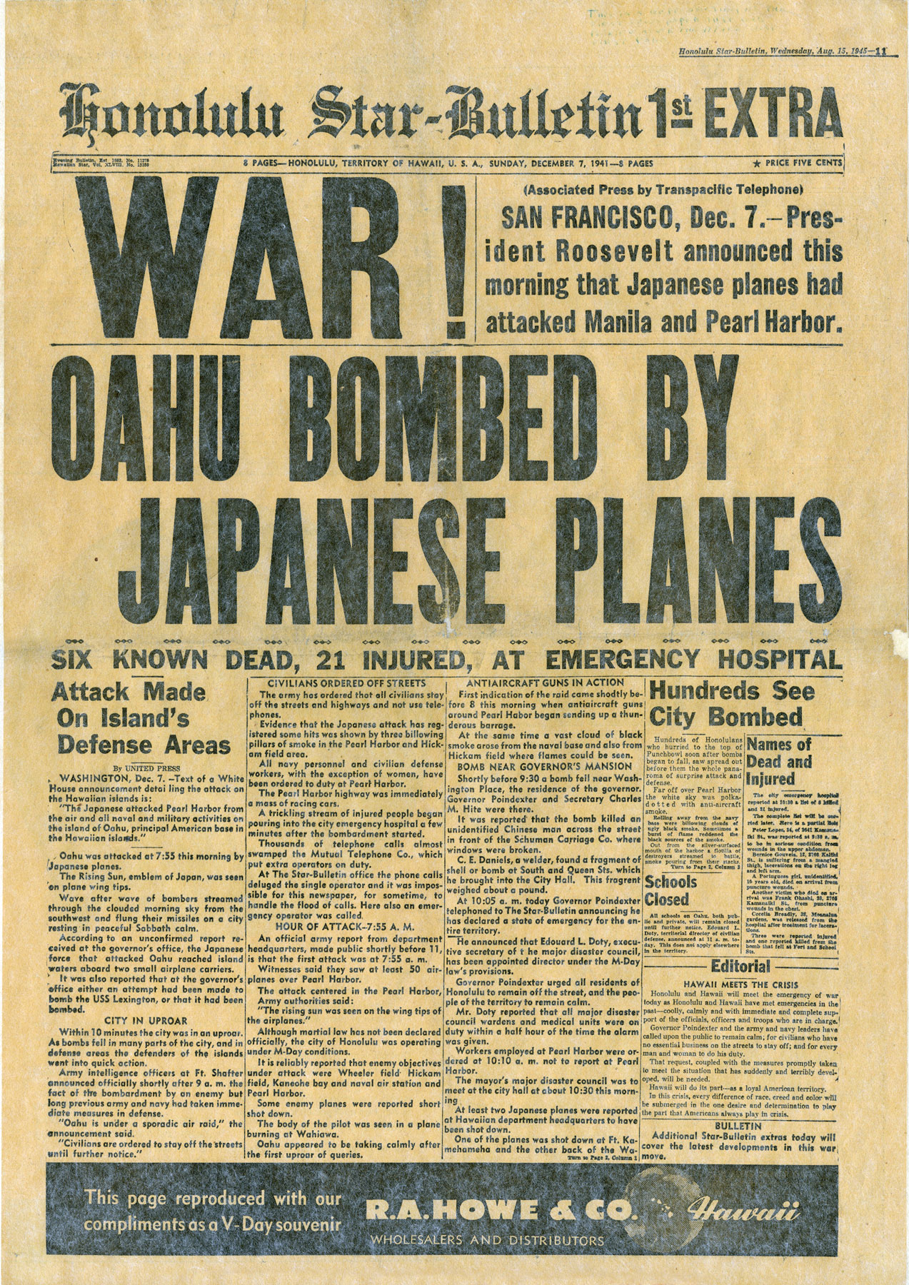 The Honolulu Star Bulletin's newspaper headline announced war the day of the Pearl Harbor attacks in Honolulu, Hawaii, Dec. 7, 1941. The attacks shed light on the necessity of effective military communications, leading to the innovations and inventions of today's space and cyberspace warfighting domains.