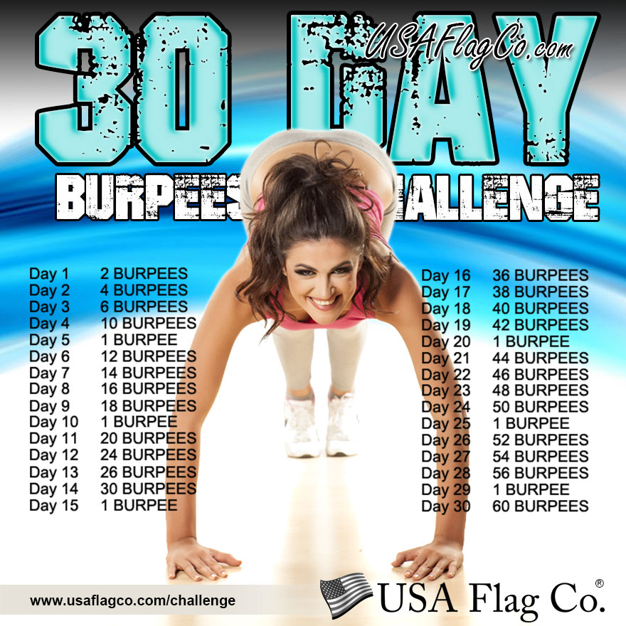 30-Day Burpees Challenge by USA Flag Co.