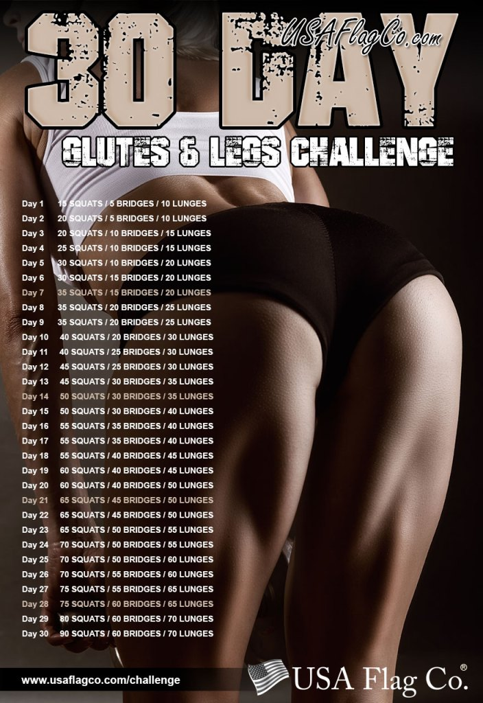 30 Day Glutes and Legs Challenge by USA Flag Co.