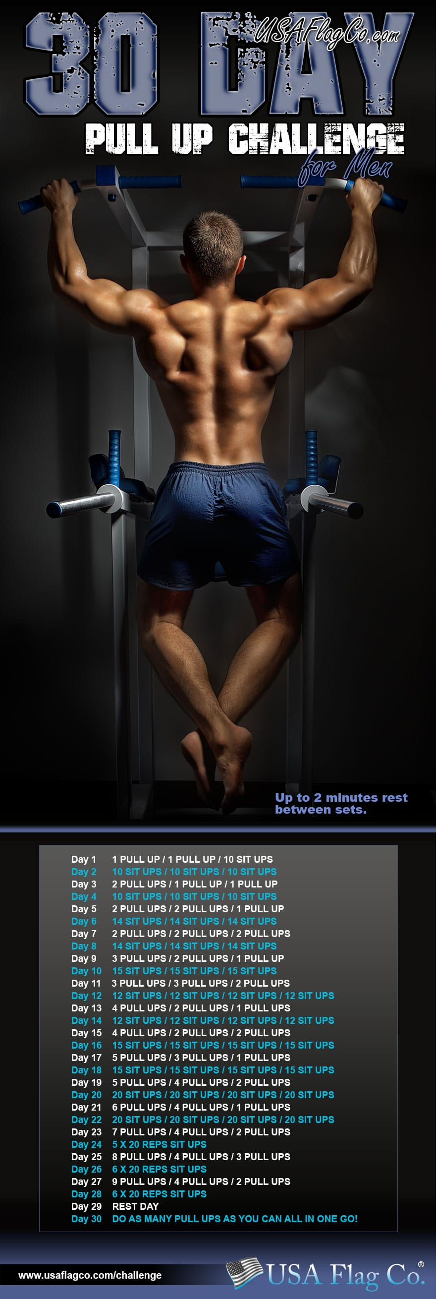 30 Day Pull Up Challenge for Men by USA Flag Co.