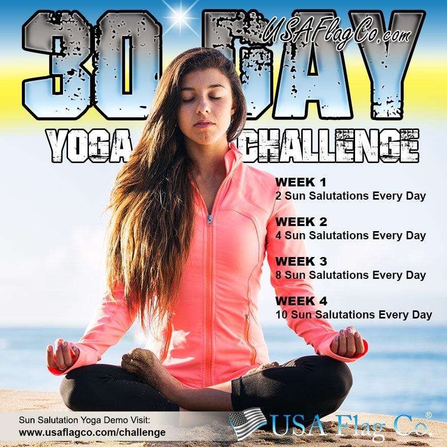 30 Day Yoga Challenge by USA Flag Co.