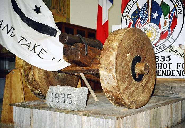 "The ""Come and Take It flag"" and cannon of the Battle of Gonzales of the Texas Revolution."