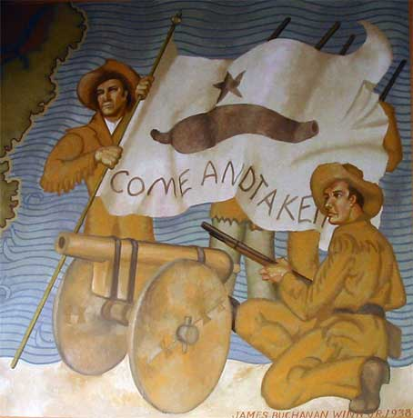 "Museum mural of Texian soldiers holding the Come and Take It flag and fighting in the Battle of Gonzales, which was referred to as the ""Lexington of Texas"" because it was the first battle of the Texas Revolution."
