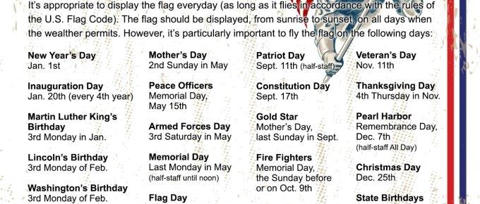 US Flag Flying Holidays